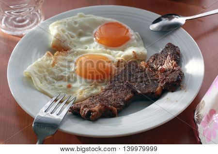 Fried two egg and grilled meat steak,  yummy delicious dish