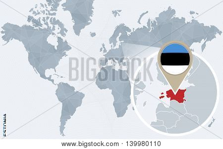Abstract Blue World Map With Magnified Estonia.