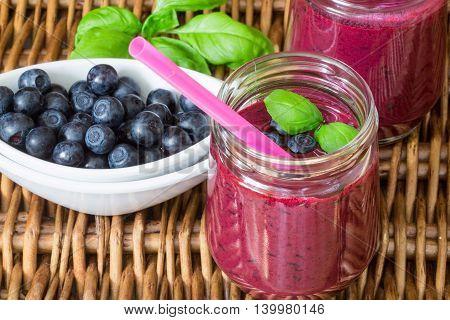 Healthy Breakfast. Summer Dessert. Blueberry Smoothies And Fresh Juicy Berries On A Wicker Table. Se