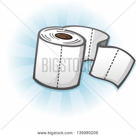 Roll of Toilet Paper on a Cardboard Tube Cartoon Illustration