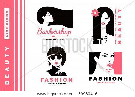 Logo Collection. Hair salon with pretty woman. Cosmetics and fashion
