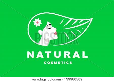 Illustration girl logo hair in the form of a leaf, natural cosmetics