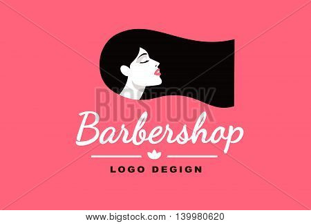 Logo brunette girl, Barber and fashion style