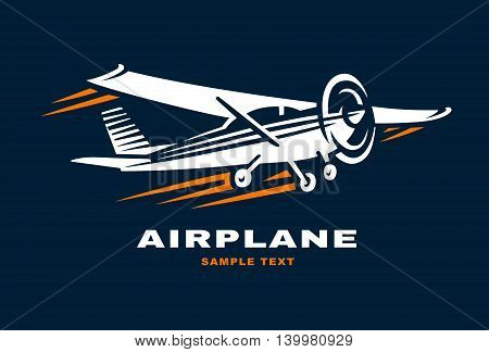Airplane Club Vector illustration Logo on dark background