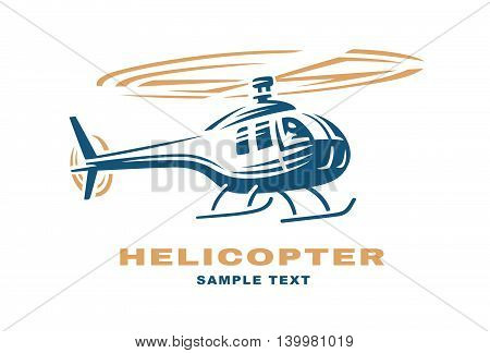 Helicopter logo design illustration on white background