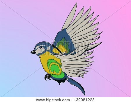 Illustrated parrot in cartoon style captured during flight on background with blue and pink gradient. Flying illustrated cartoon bird.