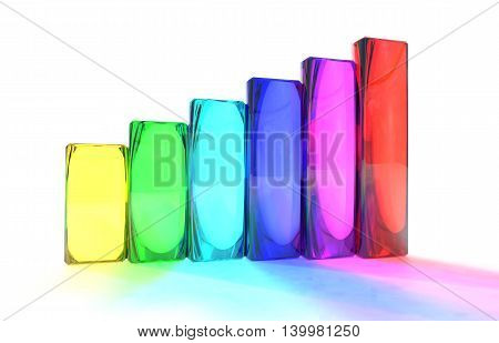 Bar chart with translucent colored columns. 3D illustration