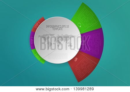 Three steps rounded infographics with 3D objects outline icons and dotted world map. 3 steps circular infographic timeline with white circle in modern layout on green gradient background. Business diagram presentation.