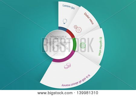 Four steps rounded infographics with 3D objects outline icons and dotted world map. 4 steps circular infographic timeline with white circle in modern layout on green gradient background. Business diagram presentation.