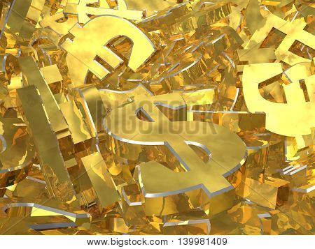 Gold currency symbols on the heap. 3D illustration