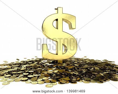 Dollar symbol on a pile of coins with dollar sign embossed. 3D illustration