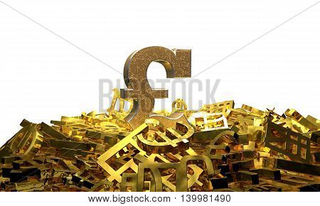 Pound sign on a pile of other currency symbols. 3D illustration