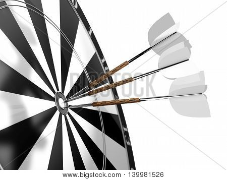 Darts. Three darts with white plumage in the center of the target on a white background. 3d illustration