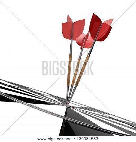 Darts. Three darts with red fins on a white background. 3d illustration
