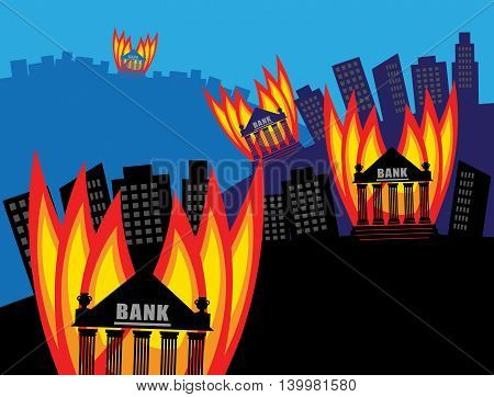 Abstract Burning Banks crisis concept, vector illustration