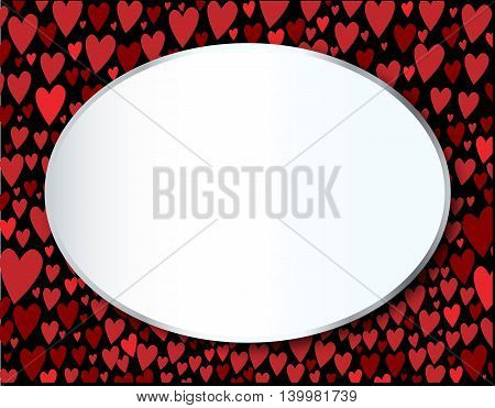 Hearts falling and collecting at the bottom of the page with an oval blank message portion