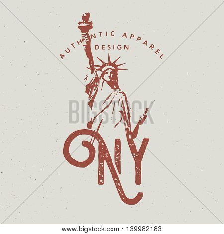 New York City Apparel Design With Statue Of Liberty Print For T-Shirt Monochrome Style And Grunge Effect
