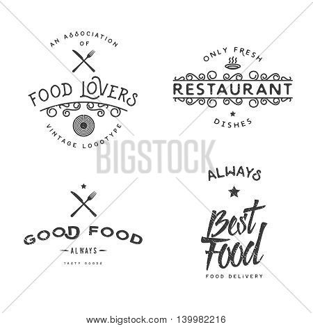 Food related vintage logo templates retro styled badges labels emblems.