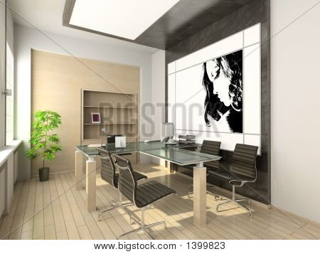 Design Of Modern Office. Hi-Tech Interior.