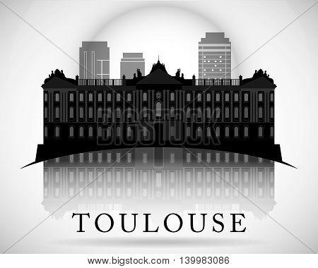 Modern vector Toulouse City Skyline Design. France