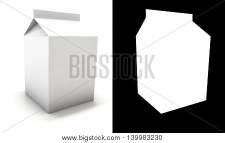 White Blank milk package with shadow. 3D illustration