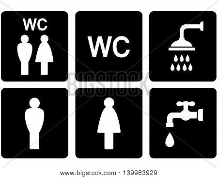 black service set of WC signs with shower and tap