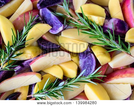 Poatoes red white and blue with fresh rosemary