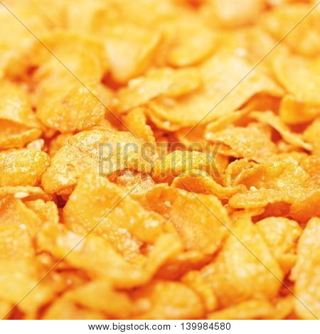 cornflakes with honey and nuts, closeup background