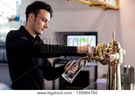 Young handsome bartender pouring beer in glass from faucet at bar counter