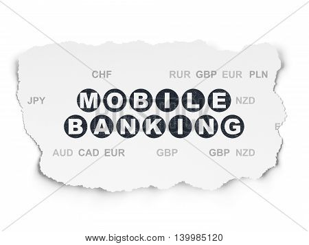 Currency concept: Painted black text Mobile Banking on Torn Paper background with  Currency