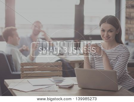 Ambitious lady. Inspirational typographic postr for small business with young positive businesswoman drinking coffee, smiling at a camera and using laptop in a background