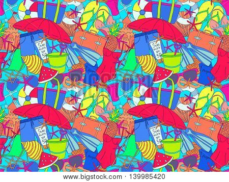 Summer vacations doodles pattern. Ocean trip drawn texture. Summer time sketches. Pencil effect simple objects. Tropical resort items background.