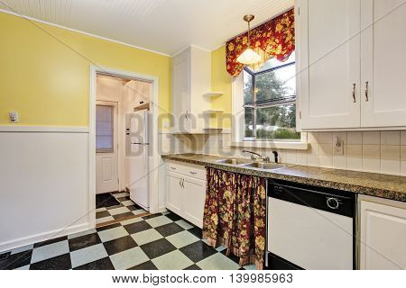 Classic Kitchen Room Interior With White Cabinets, Granite Counter Top