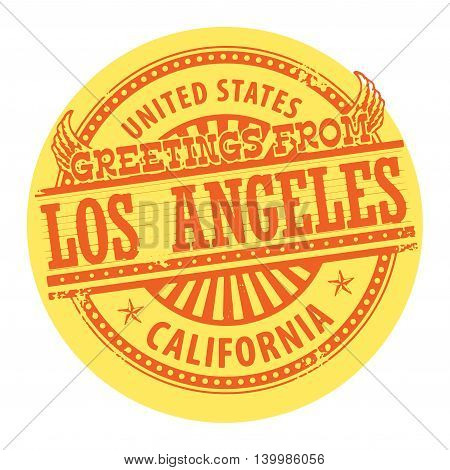 Grunge color stamp with text Greetings from Los Angeles, vector illustration