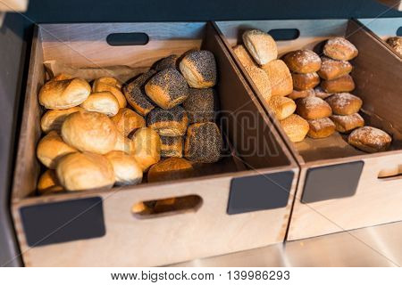 Breadbaskets full with many types of buns