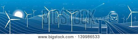 Train move, mountains landscape, windmills, wind force, energy and transportation illustration, vector design art