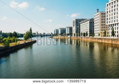 Buildings near the Main river's shore in Frankfurt Germany