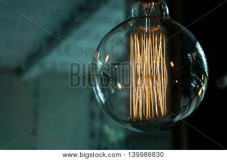 Closeup of an old style incandescent light bulb