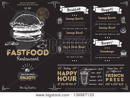 Chalkboard menu design. Menu template. Chalkboard menu background. Fast food menu design template. Food menu card. Black menu design. Pizza, burgers, drinks and other hand drawing elements in vintage style. Restaurant menu board.