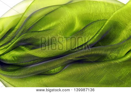 close up of the green wavy organza fabric