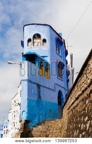 Building painted in blue - Chefchaouen Morocco