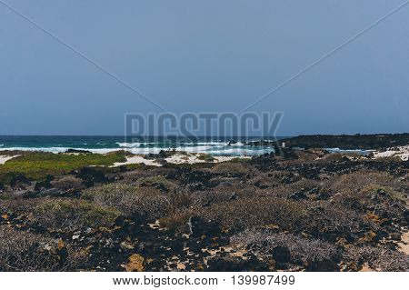 Landscape of a wild beach in Lanzarote