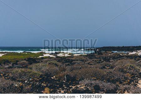 Landscape of a wild beach in Lanzarote