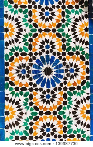 Marrakesh Morocco - February 8 2015: Handmade moroccan mosaic can be found on the ceiling of Bahia Palace.