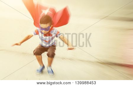 Young Boy Superhero Costume Fly Concept