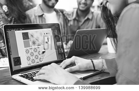 People Connection Laptop Design Illustration Concept