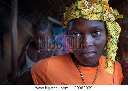 Yongoro Sierra Leone - June 02 2013: West Africa the village of Yongoro in front of Freetown portrait of woman