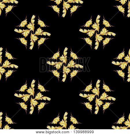 Pattern in the form of abstraction leafs on a black background