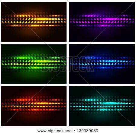 Set of colored dot shining backgrounds. Vector illustration