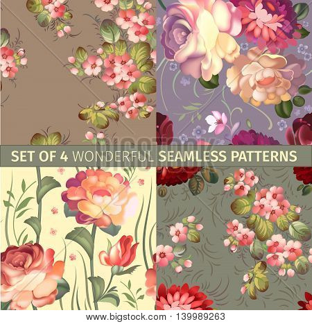 set of russian seamless patterns with flowers. Vector illustration